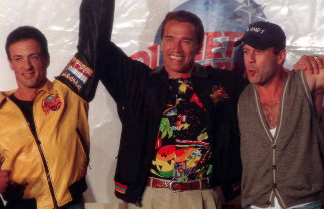 Slide 4 of 32: This trio of Hollywood stars were all smiles at the launch event for their Planet Hollywood chain of restaurants in 1991. Little did they know that their chain of eateries would go bankrupt twice, amassing colossal debts. Today, only six Planet Hollywood restaurants survive, down from a peak of over 100 in the mid-1990s.