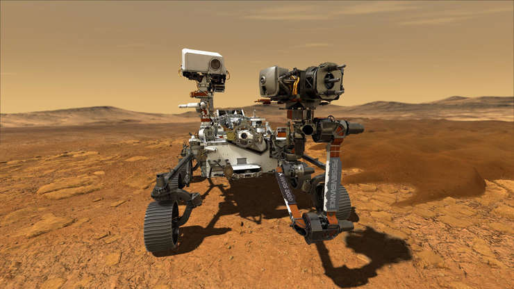 Slide 3 of 7: NASA's Perseverance rover is seen on Mars in this rendering by the agency. The 10-foot robotic vehicle will touch down on the surface on Feb. 18, 2021, after a series of complicated maneuvers.
