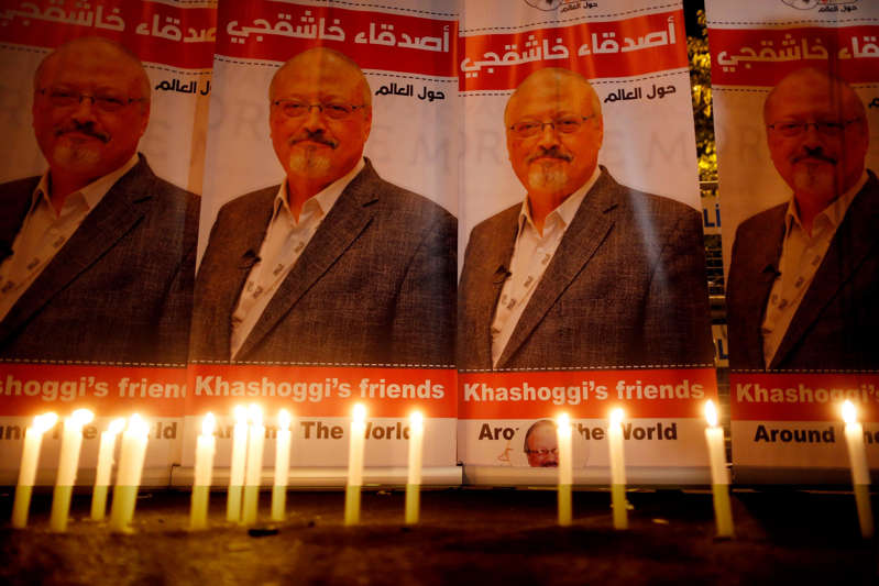 Jamal Khashoggi, Jamal Khashoggi, Jamal Khashoggi are posing for a picture: Vigil for Jamal Khashoggi on Oct. 25, 2018, in Istanbul.