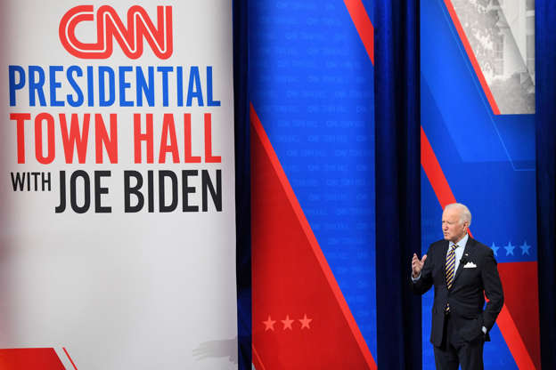 Slide 1 of 14: President Joe Biden participates in a CNN town hall at the Pabst Theater in Milwaukee, Wisconsin, Feb. 16, 2021.