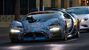 a cake made to look like a car: Hyperion releases real-world photographs of the XP-1 Hydrogen-powered supercar visiting the bright lights of Hollywood.