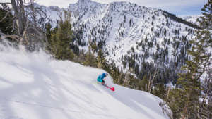 a man riding skis down a snow covered slope: (Photo courtesy of Solitude Mountain Resort)