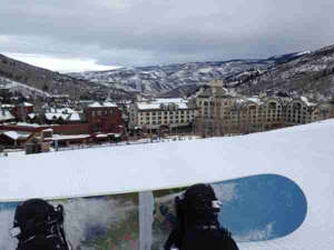 a group of people on a snow board: View of the Park Hyatt Beaver Creek from the mountain (Photo by Summer Hull/The Points Guy)