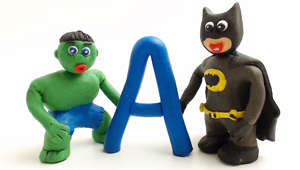 Learning the ABC's with superheroes: Stop motion animation cartoons for kids