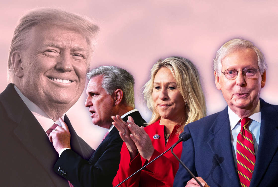 Donald Trump, Mitch McConnell are posing for a picture: Donald Trump; Kevin McCarthy; Marjorie Taylor-Greene; Mitch McConnell