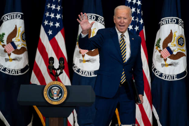 Slide 4 of 14: President Joe Biden waves after delivering remarks to State Department staff, Thursday, Feb. 4, 2021, in Washington.