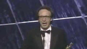 Italy wins the Oscar for Foreign Language Film at the 71st Academy Awards, accepted by Roberto Benigni and presented by Sophia Loren. Watch more of the 1999 Oscars: https://www.youtube.com/playlist?list=PLJ8RjvesnvDPjEszC-JzEzYQihHwB1JRg