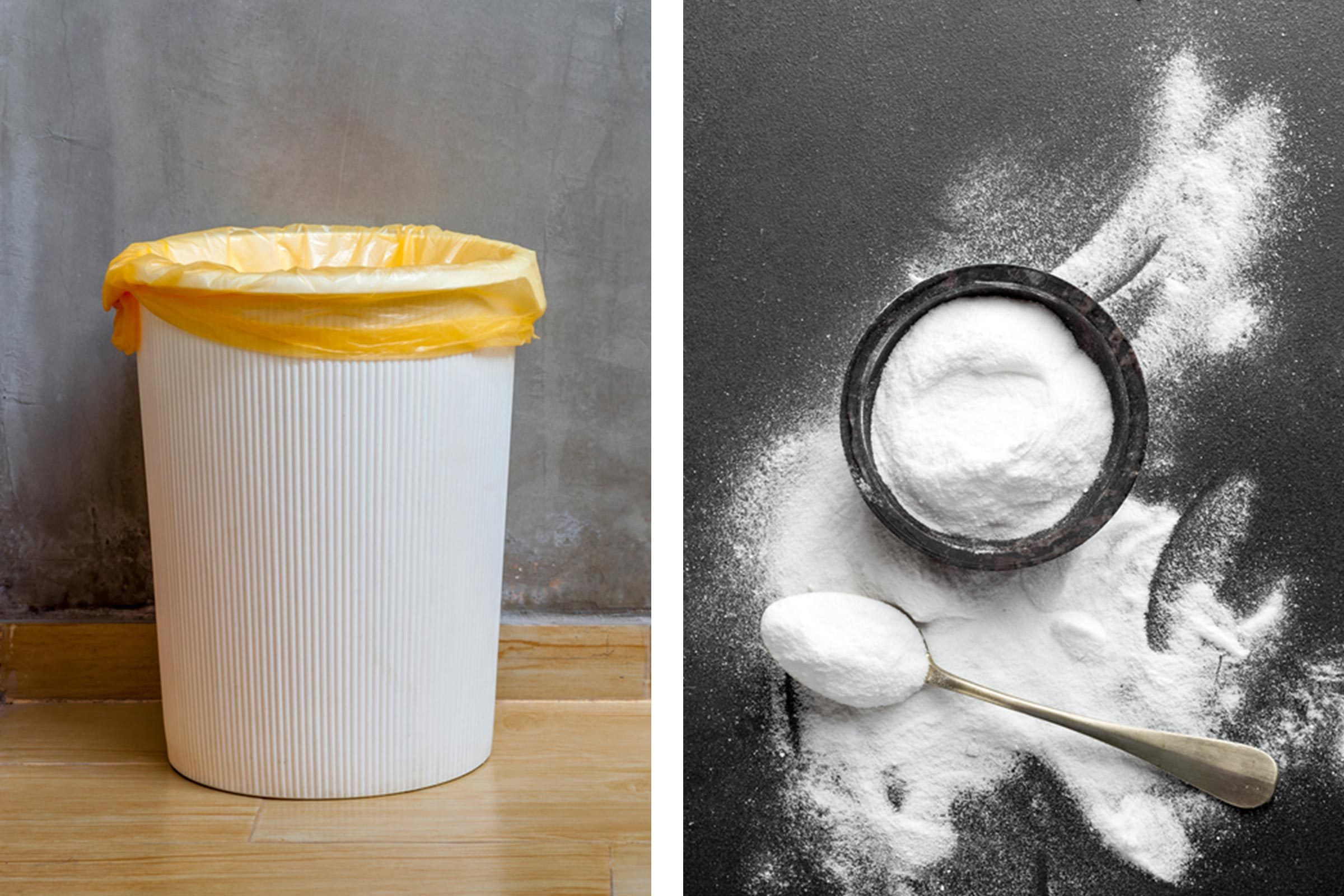 Slide 2 of 21: Keep your garbage can smelling fresh by sprinkling baking soda in the bottom each time you change out the bag. Baking soda is one of the most effective natural deodorizers out there and will prevent the area from smelling. Here are more brilliant uses for baking soda around your house.