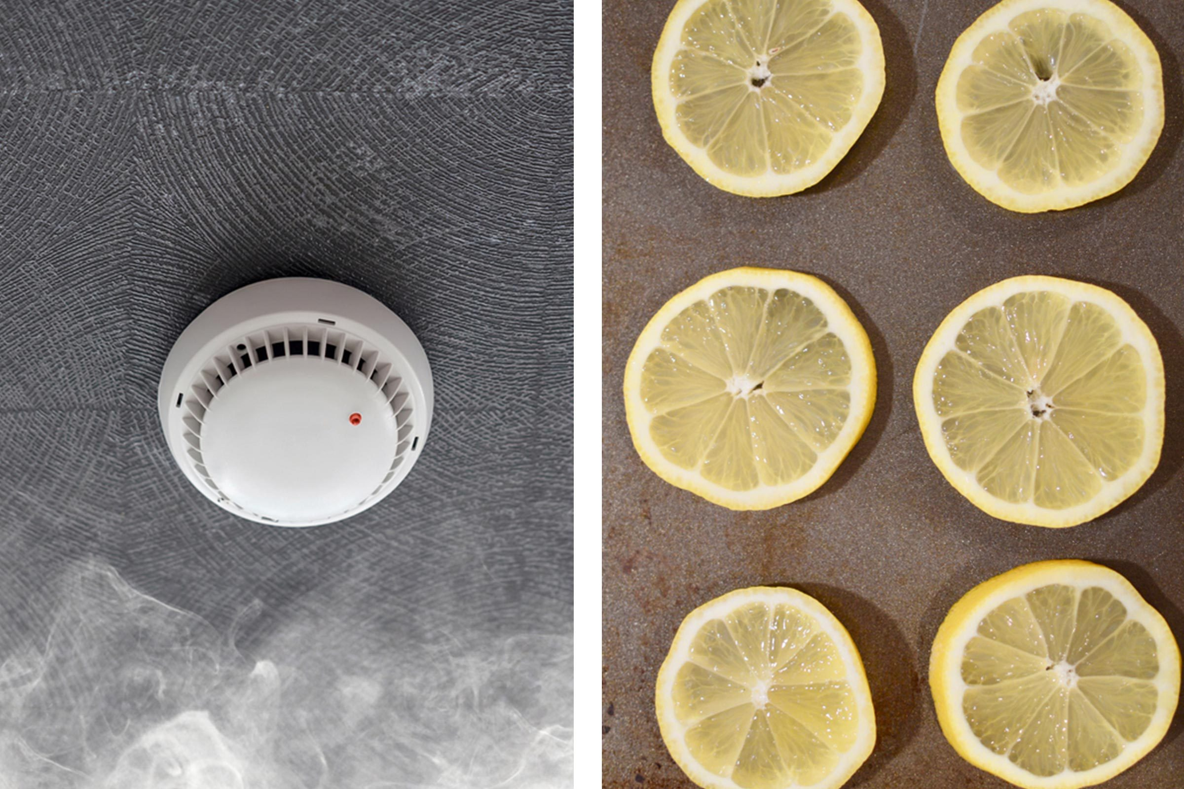 Slide 11 of 21: Did last night's dinner leave an unexpected reek in your kitchen? Wet a washcloth with vinegar and wave it around the room to neutralize any smell. Another method is to slice two lemons and place them on a baking sheet, then preheat your oven at 225°F and bake for 60 to 90 minutes. Once time is up, leave your oven door open and let this natural air freshener work wonders.