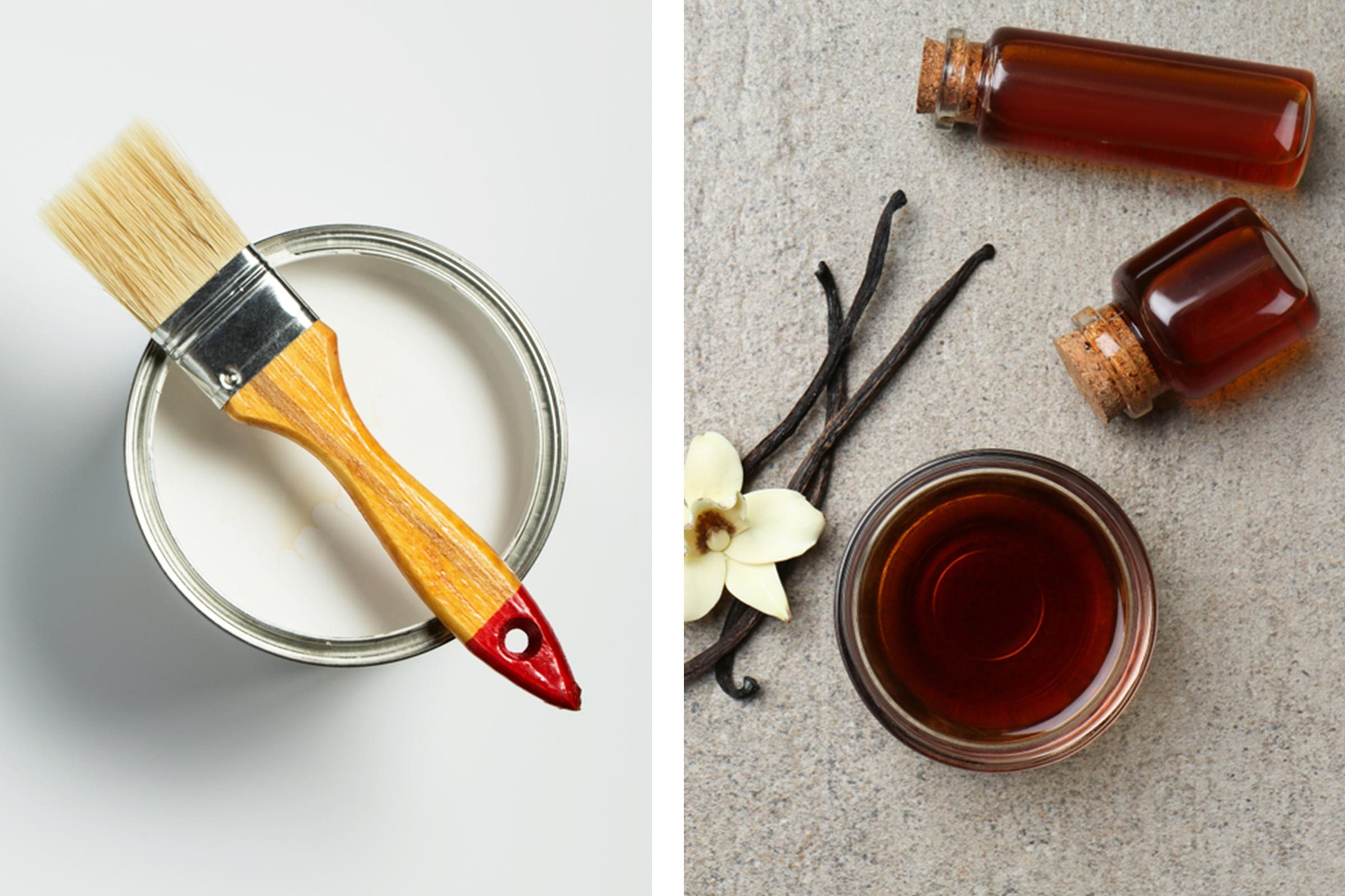 Slide 6 of 21: Although it may be exciting to be adding a fresh coat of paint to your walls, the accompanying odor can detract from the fun. Mix a tablespoon of vanilla extract into a gallon of paint to make the sharp smell slightly sweeter.