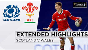 logo: Watch match highlights of Scotland v Wales in the second round of the Guinness Six Nations 2021 championships.  Scotland: 15 Stuart Hogg (c), 14 Darcy Graham, 13 Chris Harris, 12 James Lang, 11 Duhan van der Merwe, 10 Finn Russell, 9 Ali Price, 8 Matt Fagerson, 7 Hamish Watson, 6 Blade Thomson, 5 Jonny Gray, 4 Scott Cummings, 3 Zander Fagerson, 2 George Turner, 1 Rory Sutherland  Replacements: 16 David Cherry, 17 Oli Kebble, 18 WP Nel, 19 Richie Gray, 20 Gary Graham, 21 Scott Steele, 22 Jaco van der Walt, 23 Huw Jones  Wales: 15 Leigh Halfpenny, 14 Louis Rees-Zammit, 13 Owen Watkin, 12 Nick Tompkins, 11 Liam Williams, 10 Dan Biggar, 9 Gareth Davies, 8 Taulupe Faletau, 7 Justin Tipuric, 6 Aaron Wainwright, 5 Alun Wyn Jones (c), 4 Adam Beard, 3 Tomas Francis, 2 Ken Owens, 1 Wyn Jones  Replacements: 16 Elliot Dee, 17 Rhodri Jones, 18 Leon Brown, 19 Will Rowlands, 20 James Botham, 21 Kieran Hardy, 22 Callum Sheedy, 23 Willis Halaholo  Date: Saturday, February 13  Venue: Murrayfield  Kick-off: 16:45 GMT  Referee: Matthew Carley (England) Assistant Referees: Pascal Gauzere (France), Andrea Piardi (Italy) TMO: Karl Dickson (England)