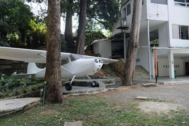 "Slide 6 of 29: And speaking of airplanes, this is apparently the airplane used by Pablo Escobar to bring drug money from Panama. The aircraft is displayed in the family museum run by his brother, Roberto Escobar—also known as ""The Accountant."""
