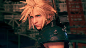 a person wearing a hat: Cloud in Final Fantasy VII Remake