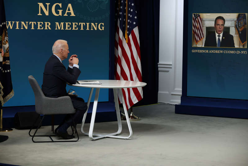 U.S. President Joe Biden delivers remarks virtually to the National Governors Association Winter Meeting as New York Governor Andrew Cuomo is seen participating remotely at the White House in Washington, U.S., February 25, 2021. REUTERS/Jonathan Ernst