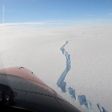 a airplane that is covered in snow: Iceberg bigger than New York City breaks off Brunt Ice Shelf