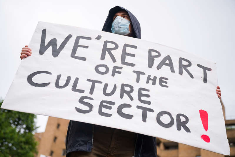 File: Demonstrators protest outside the Tate Modern over proposed job losses in the wake of the COVID-19 lockdown, on July 27, 2020 in London, England.