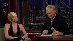 Paris Hilton on the Late Show with David Letterman. She is there to promote her perfume but mostly gets asked about jail, even appearing visibly upset at times. To his credit, Dave doesn't back down and continues to ask her anyway.