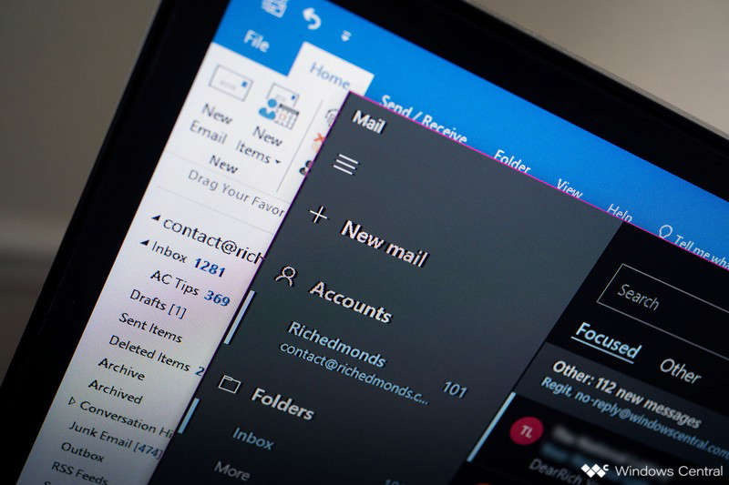 a close up of a screen: Outlook Windows