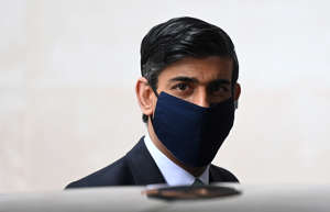 Britain's Chancellor of the Exchequer, Rishi Sunak leaves the New Broadcasting House following an interview on BBC TV's The Andrew Marr Show, amid the spread of the coronavirus disease (COVID-19), in London, Britain, February 28, 2021. REUTERS/Toby Melville