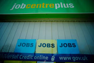 Adverts for jobs are seen in the window of a Jobcentre Plus as the country waits for Britain's Chancellor of the Exchequer Rishi Sunak to deliver his budget on Wednesday, in Manchester, Britain, March 2, 2021. REUTERS/Phil Noble