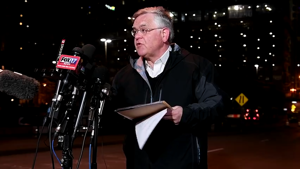 a man standing in front of a microphone: Nashville Mayor John Cooper gives an update on the investigation into the explosion that hit downtown on Christmas morning.
