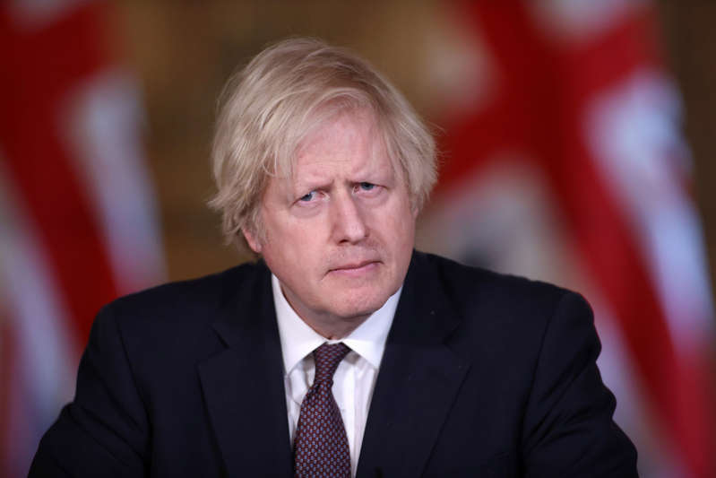 Britain's Prime Minister Boris Johnson holds a virtual news conference at 10 Downing Street, amid the coronavirus disease (COVID-19) outbreak, in London, Britain, March 8, 2021. REUTERS/Hannah Mckay/Pool