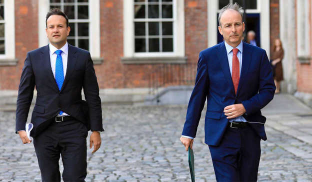 Leo Varadkar, Micheal Martin are posing for a picture: The growing instability within Fine Gael and Fianna Fáil is now a source of increasing unease for the Greens. Pic: Rollingnews.ie