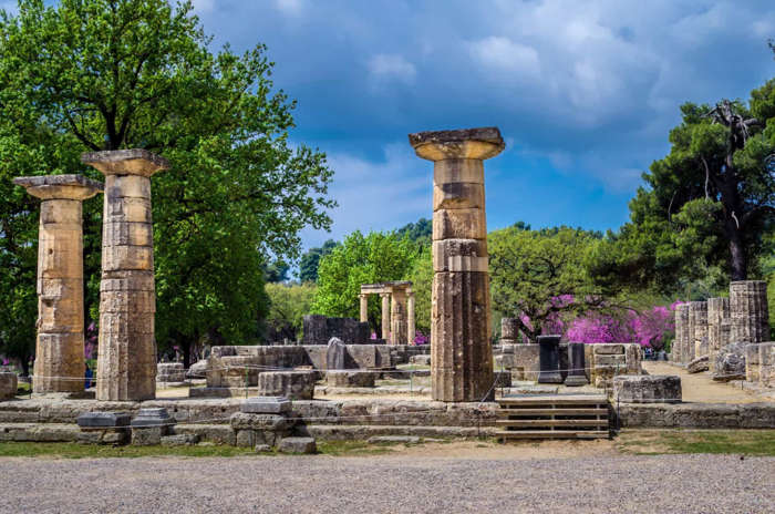 6 of 33 Photo in Gallery: The Temple of Hera at Olympia dates back to approximately 590 BCE. The original structure was largely destroyed by an earthquake in the 4th century CE. Today, the modern Olympic flame is ignited at a spot near the temple's ruined altar.