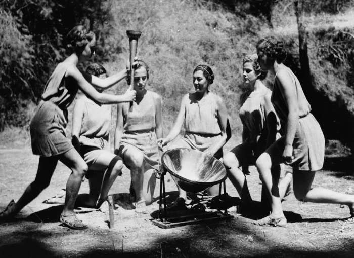12 of 33 Photo in Gallery: In 1936, it was also decided to return to Olympia in Greece for the inaugural torch-lighting event (pictured).