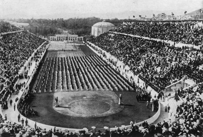 7 of 33 Photo in Gallery: The Ancient Games were banned in 394 CE by Theodosius I as an unwanted pagan festival. The Olympic Games were eventually revived in 1859 and took place at the restored Panathenaic Stadium (pictured in 1896, when the Games were held for the first time under the auspices of the International Olympic Committee). The stadium today is the last venue in Greece from where the Olympic flame handover ceremony to the host nation takes place. But in the 19th century, the idea of an Olympic flame was yet to be sparked.