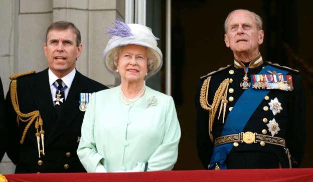 Prince Andrew, Duke of York, Elizabeth II, Prince Philip, Duke of Edinburgh standing in front of a military uniform: Queen Elizabeth is set to honour her son Prince Andrew with a Platinum Jubilee medal. Pic: Anwar Hussein/Getty Images