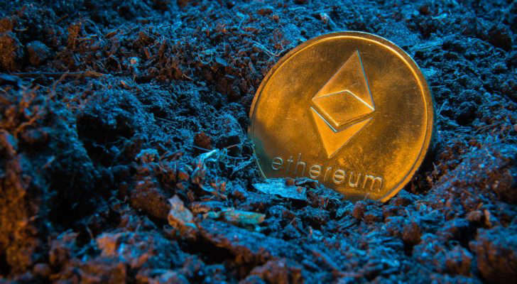 a close up of a sign: A concept image of mining an Ethereum (ETH) token.
