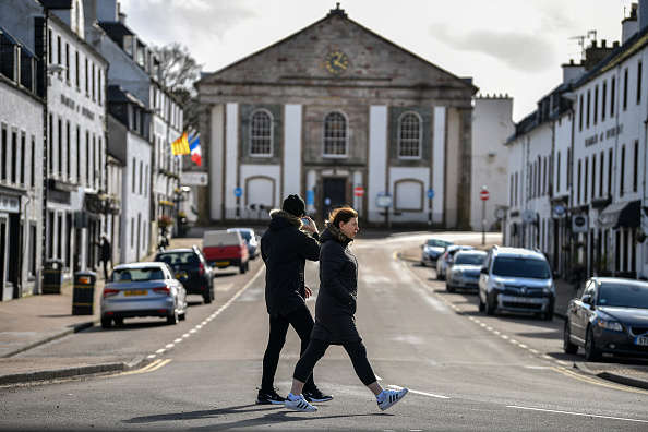 An empty view of Main Street West as lockdown continues during the coronavirus outbreak on April 2, 2020 in Inveraray, Scotland. The Coronavirus (COVID-19) pandemic has spread to many countries across the world, claiming over 40,000 lives and infecting nearly a million people. (Photo by Jeff J Mitchell/Getty Images)