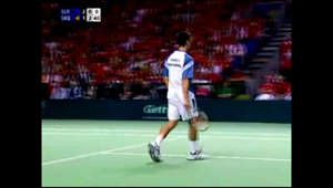 Rare highlights of Wawrinka and Djokovic in their second match.
