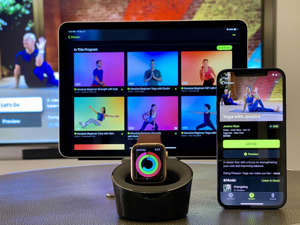 graphical user interface, application: Apple's Fitness Plus app is available on the iPhone, iPad and AppleTV. Vanessa Hand Orellana/CNET
