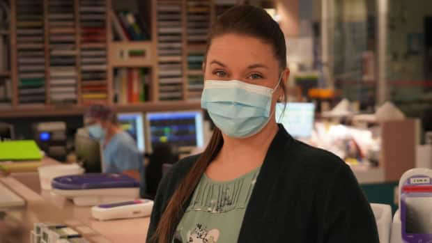 a man looking at the camera: Most of the patients in the ICU with severe COVID-19 at Cité-de-la-Santé hospital in Laval have a variant of the virus, said Joanie Bolduc-Dionne, the ICU's head nurse.