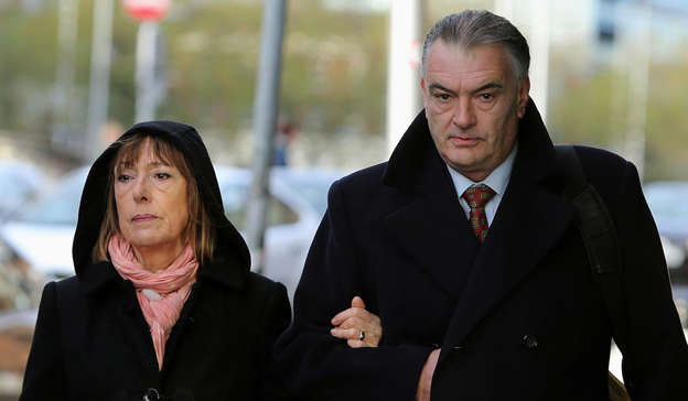 Ian Bailey standing next to a man in a suit and tie: Pic: Brian Lawless/PA Wire