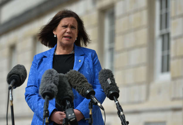 Sinn Fein leader Mary Lou McDonald seen outside Stormont in Belfast, speaking to the media following a loyalist protest in the city against Brexit's Northern Ireland Protocol.  On Monday, April 19, 2021, in Belfast, Northern Ireland (Photo by Artur Widak/NurPhoto via Getty Images)
