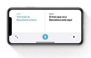 text, whiteboard: The Siri Translate app makes it easy to carry on a conversation with someone speaking a different language. Image: Apple, Inc.