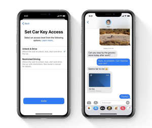 graphical user interface, application: You can easily share Car Keys from the wallet app via iMessage and even set restrictions for the key. Image: Apple, Inc.