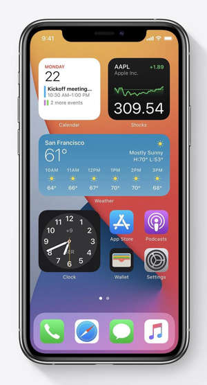 graphical user interface, application: Widgets can be dragged from the Today View and placed inline with app icons on the Home Screen for the first time in iOS 14. Image: Apple, Inc.