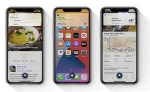 graphical user interface, application: Siri's compact mode makes it easy to use Siri unobtrusively from anywhere on your device. Image: Apple, Inc.