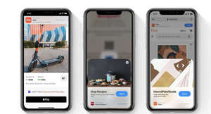 graphical user interface, application: App Clips are smaller versions of the full app that can be instantly downloaded and launched when the user taps their device on an NFC tap point or scans a QR code. Image: Apple, Inc.