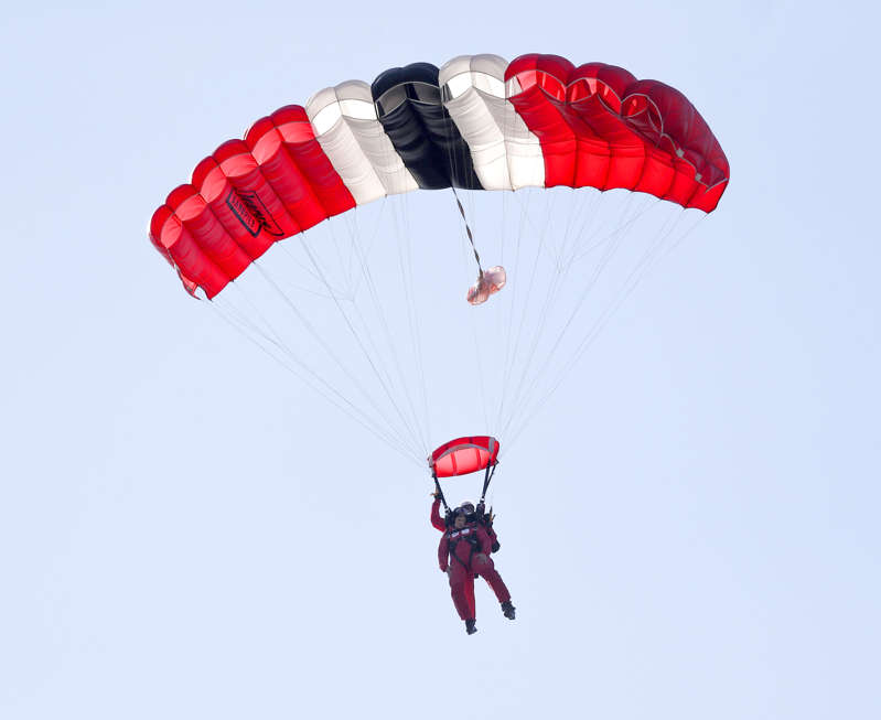 Minister for Defence People and Veterans Johnny Mercer during a tandem jump with the Red Devils at Ginkel Heath, as part of the Operation Market Garden 75th anniversary commemorations near Arnhem, Netherlands. (Photo by Steve Parsons/PA Images via Getty Images)