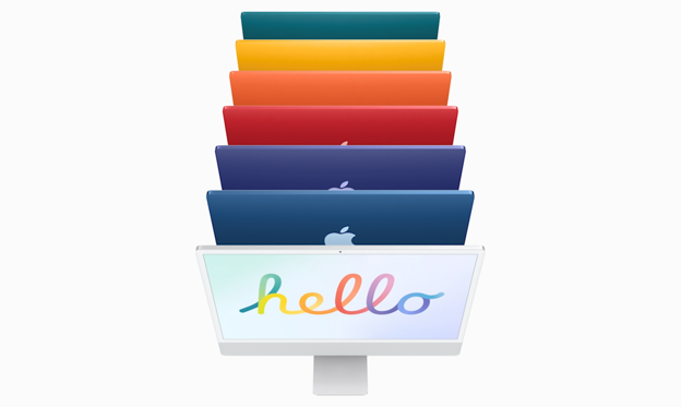 chart, funnel chart: Hello, new iMacs! Check out the new colorful designs, and then we'll take a look back at the splashes of color Apple first brought to the 1999 iMacs, following the computer's debut in 1998 with just a single color.