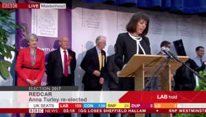 a group of people sitting in front of a sign: Maidenhead candidate 'Lord Buckethead' DABS at election result