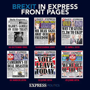 a close up of a newspaper: Brexit history
