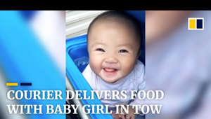 graphical user interface, text, application, chat or text message: Subscribe to our YouTube channel for free here:  https://sc.mp/subscribe-youtube  A courier in eastern China's Jiangsu province was filmed delivering food with his two-year-old daughter in tow. The baby girl was placed in a delivery box while the father rode across the city. He shared his daily life videos online, which caused a sensation on Chinese social media.    Support us: https://subscribe.scmp.com  Follow us on: Website:  https://www.scmp.com Facebook:  https://facebook.com/scmp Twitter:  https://twitter.com/scmpnews Instagram:  https://instagram.com/scmpnews Linkedin:  https://www.linkedin.com/company/south-china-morning-post/