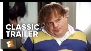 Chris Farley looking at the camera: Subscribe to CLASSIC TRAILERS: http://bit.ly/1u43jDe Subscribe to TRAILERS: http://bit.ly/sxaw6h Subscribe to COMING SOON: http://bit.ly/H2vZUn Like us on FACEBOOK: http://goo.gl/dHs73 Follow us on TWITTER: http://bit.ly/1ghOWmt  Tommy Boy (1995) Official Trailer #1 - Chris Farley, David Spade Comedy HD  An incompetent, immature, and dimwitted heir to an auto parts factory must save the business to keep it out of the hands of his new, con-artist relatives and big business.  Welcome to the Fandango MOVIECLIPS Trailer Vault Channel. Where trailers from the past, from recent to long ago, from a time before YouTube, can be enjoyed by all. We search near and far for original movie trailer from all decades. Feel free to send us your trailer requests and we will do our best to hunt it down.