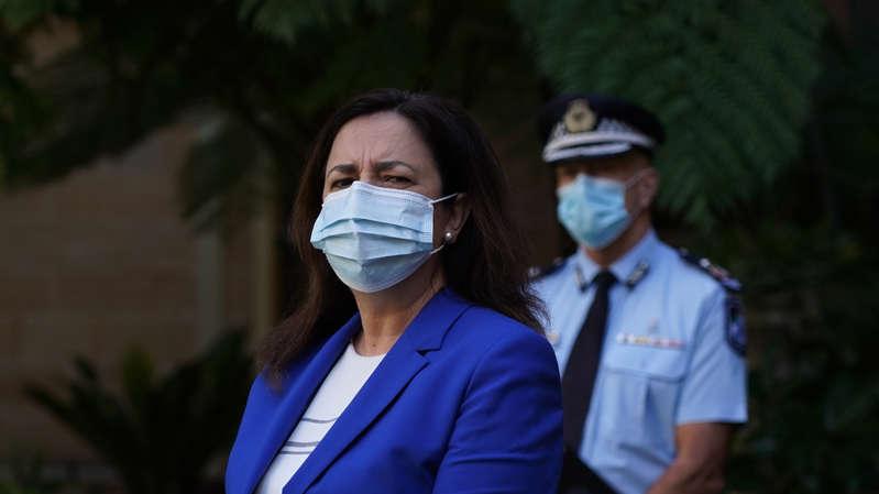 a person wearing a blue shirt: Premier Annastacia Palaszczuk at a press conference in Brisbane. (ABC News: Stephen Cavenagh)